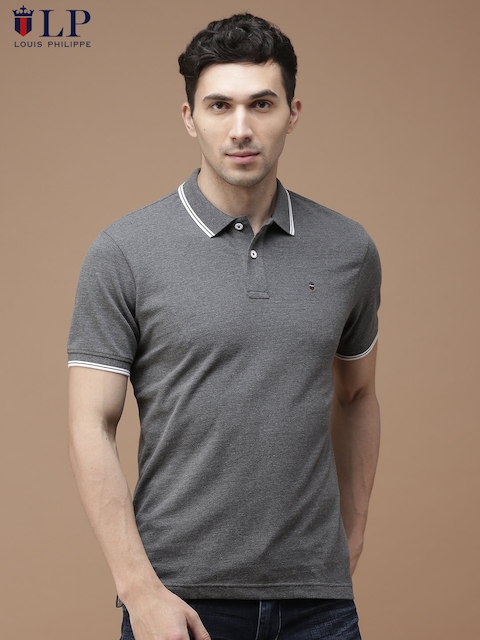 Louis Philippe Sport Men Grey Solid Polo Collar T-shirt  available at myntra for Rs.1349