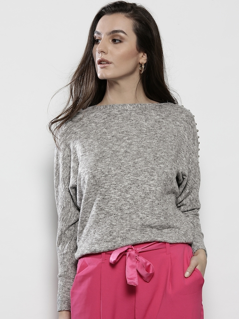DOROTHY PERKINS Women Grey Melange Solid Sweatshirt