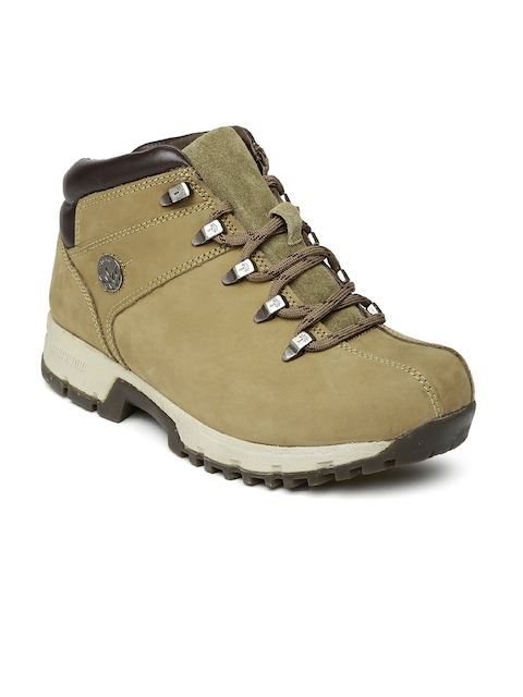 Woodland Men Olive Green Solid Suede Mid-Top Flat Boots