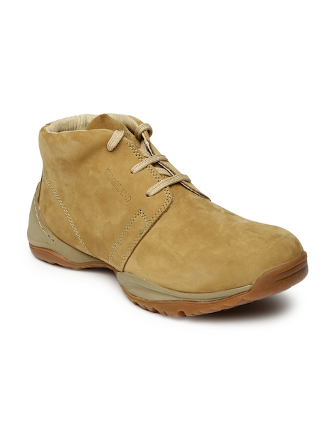Woodland Men Tan Solid Suede Mid-Top Flat Boots