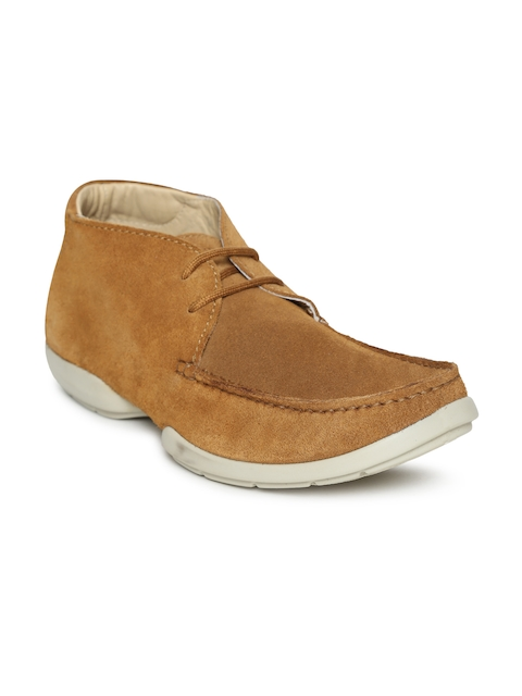 Woodland Men Tan Solid Leather Mid-Top Derbys