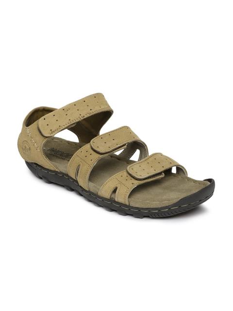 Woodland Men Khaki Leather Comfort Sandals