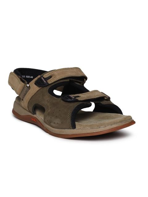 Woodland Men Olive Green & Brown Sandals