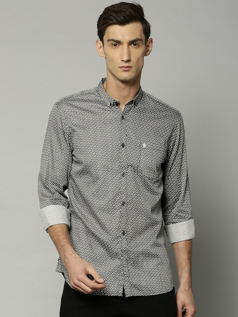 French Connection Men Black & Grey Slim Fit Printed Casual Shirt
