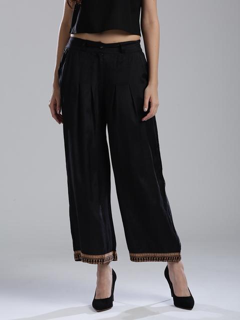W Women Black Regular Fit Solid Parallel Trousers