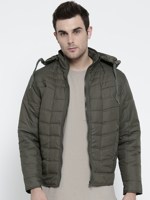 Foreign Culture Men Olive Green Solid Padded Jacket with Detachable Hood