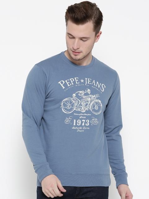 Pepe Jeans Men Blue Printed Sweatshirt