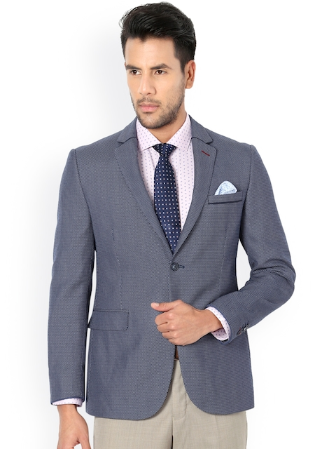 Van Heusen Blue Self-Design Single-Breasted Slim Fit Blazer