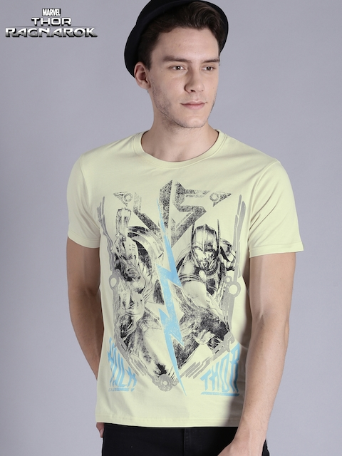 Kook N Keech Marvel Men Cream-Coloured Printed Round Neck T-Shirt  available at myntra for Rs.239
