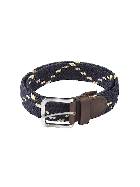 HAMILTON Men Navy Woven Design Belt