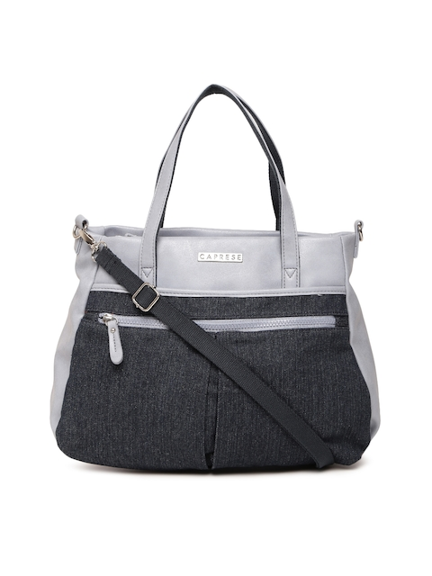 Caprese Grey & Navy Colourblocked Handheld Bag