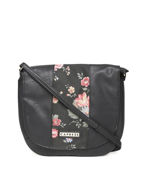 Caprese Black Solid Sling Bag