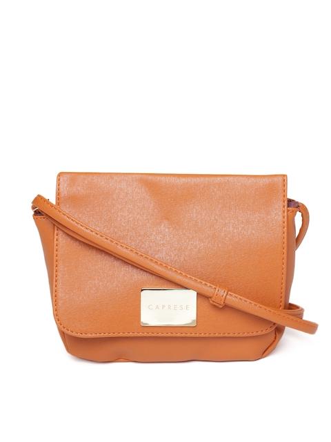 Caprese Tan Brown Solid Sling Bag