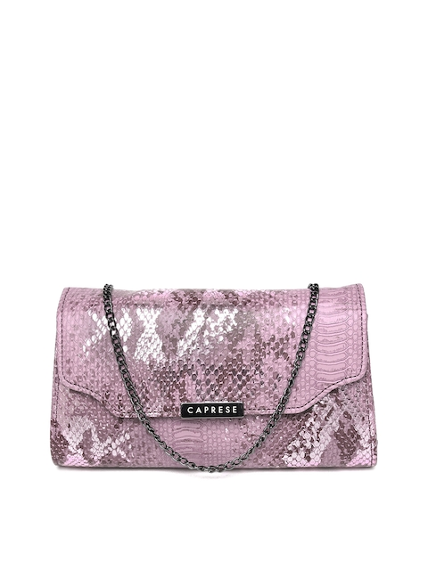 Caprese Purple Snakeskin-Textured Clutch with Sling Strap