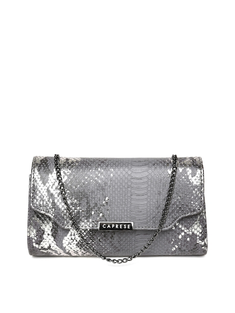 Caprese Grey Snakeskin-Textured Clutch with Chain Strap