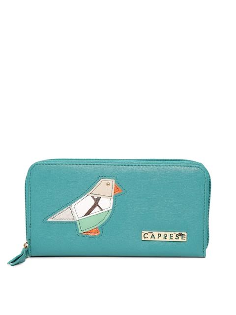 Caprese Women Green Solid Zip-Around Wallet