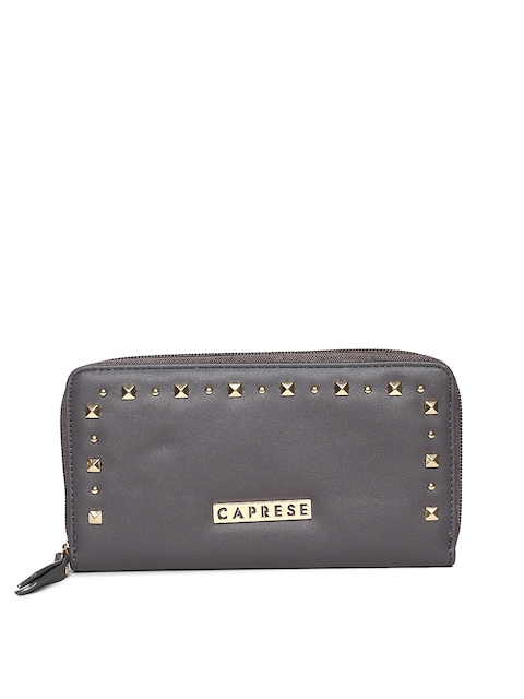 Caprese Women Grey Solid Zip Around Wallet