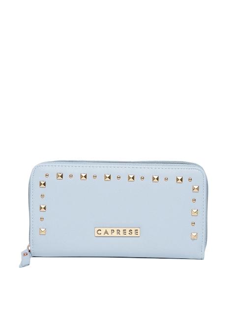 Caprese Women Blue Studded Zip Around Wallet