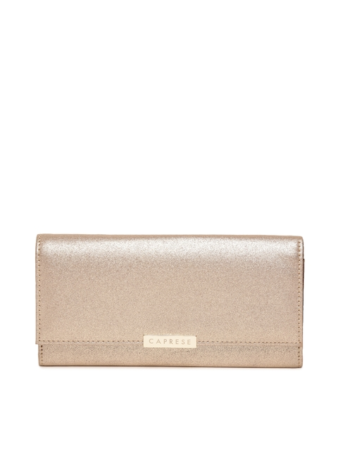 Caprese Women Gold-Toned Solid Three Fold Wallet