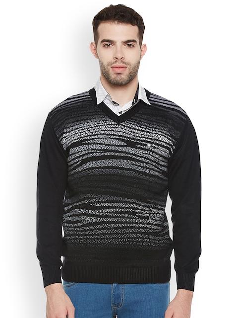 Duke Men Black Patterned Pullover