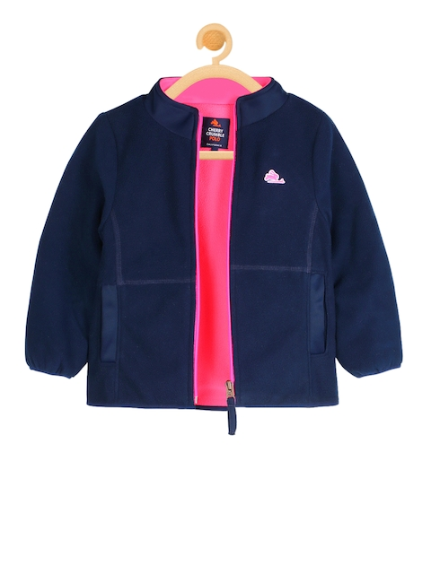 Cherry Crumble Kids Navy Blue Solid Open Front Jacket