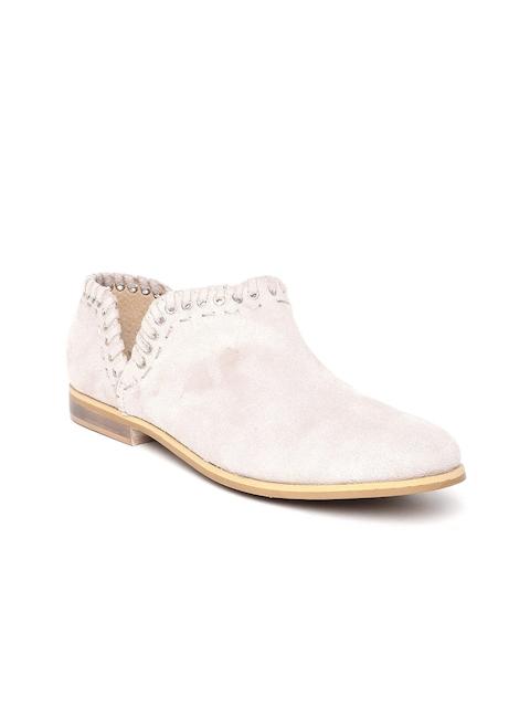 Zebba Women Beige Suede Flat Boots