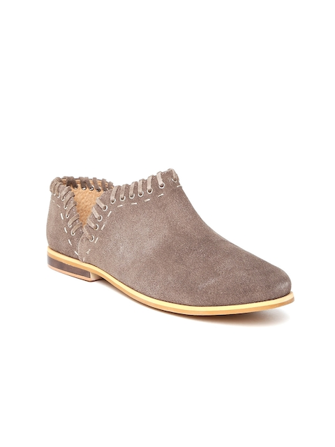 Zebba Women Taupe Suede Flat Boots