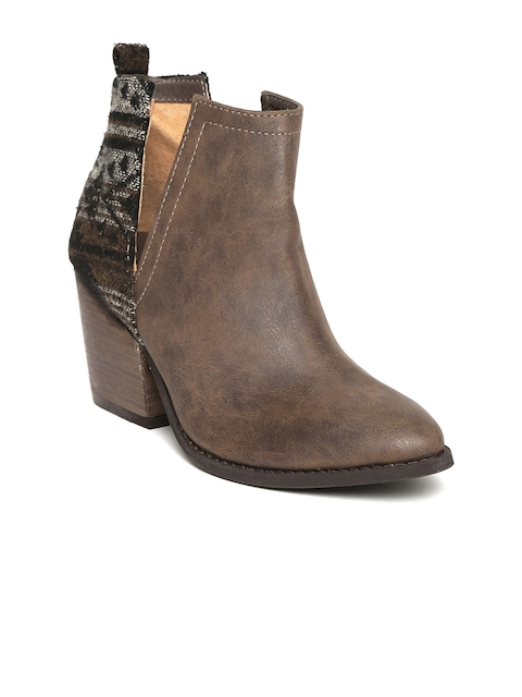 Zebba Women Brown Heeled Boots with Woven Design Detail