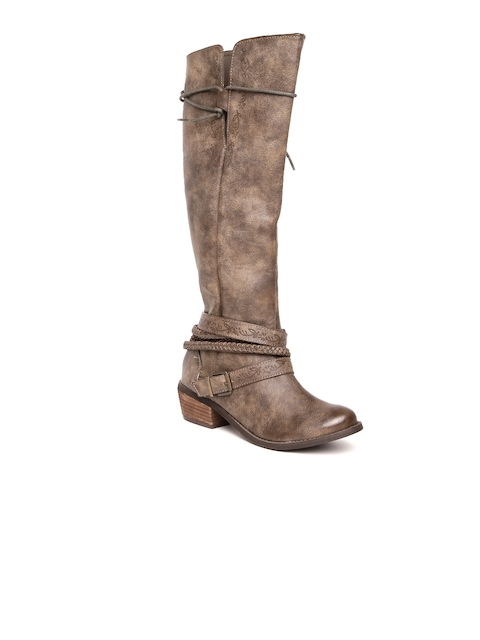 Zebba Women Brown Solid Heeled Boots