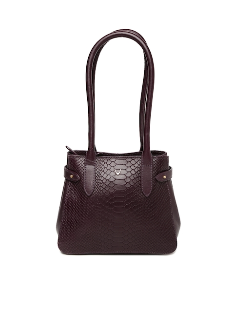 Hidesign Purple Textured Leather Shoulder Bag