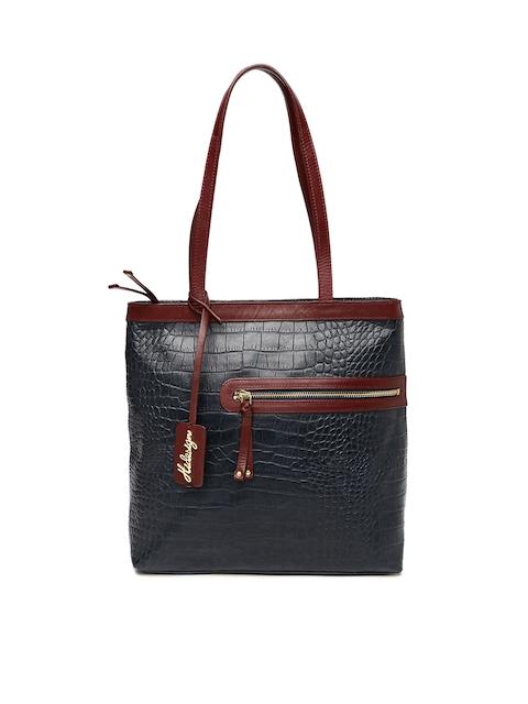 Hidesign Navy Blue & Burgundy Textured Shoulder Bag