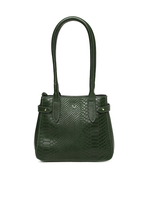 Hidesign Green Textured Leather Shoulder Bag
