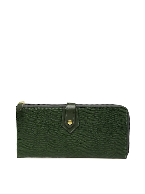Hidesign Women Green Textured Leather Zip Around Wallet