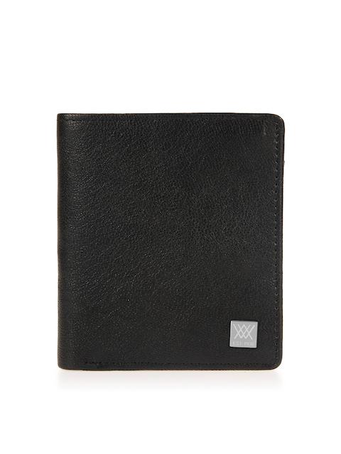 Aditi Wasan Men Black Solid Genuine Leather Twofold Wallet