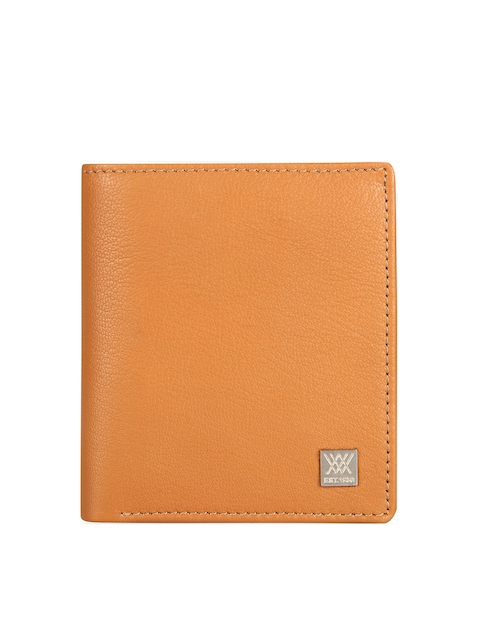 Aditi Wasan Men Tan Brown Solid Genuine Leather Twofold Wallet