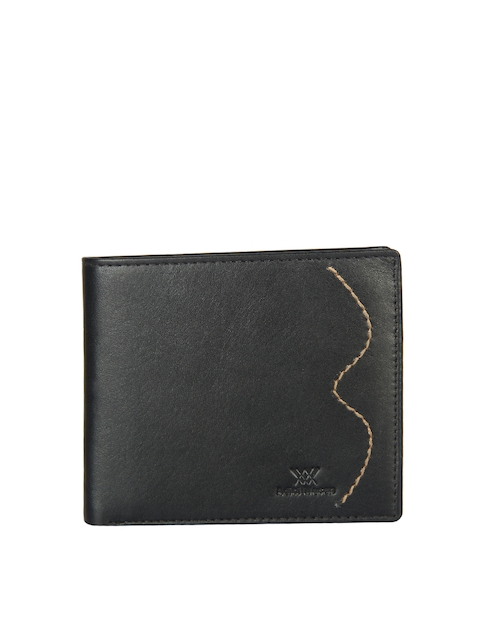 Aditi Wasan Men Black Solid Genuine Leather Twofold Wallet