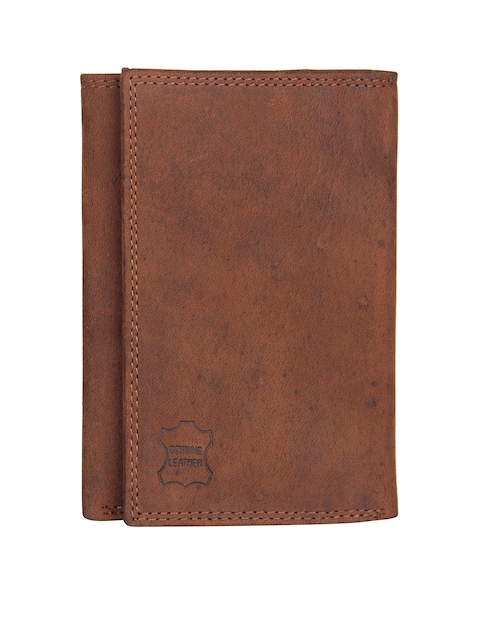 Aditi Wasan Men Brown Solid Genuine Leather Threefold Wallet