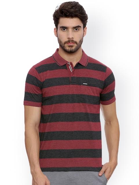 Proline Men Maroon & Black Striped Polo Collar T-shirt