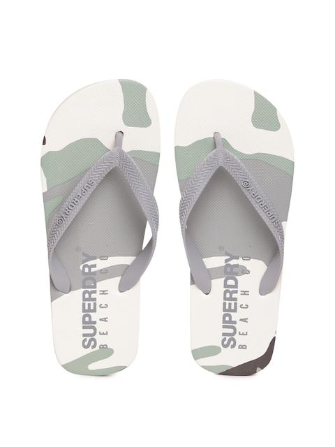 Superdry Men Grey & Off-White Printed Flip-Flops