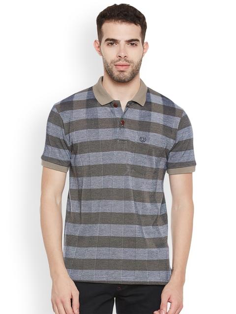 Duke Men Grey Checked Polo Collar T-shirt