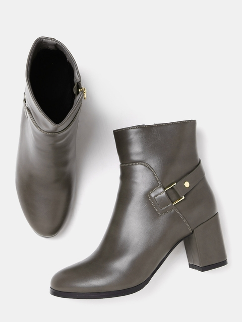 DressBerry Women Olive Brown Solid Heeled Boots