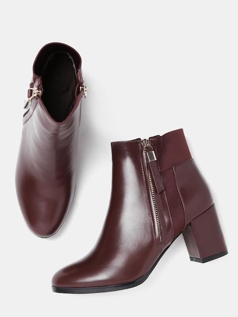 DressBerry Women Maroon Solid Heeled Boots