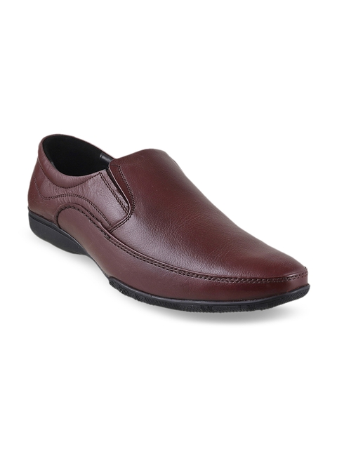 Metro Men Maroon Leather Semiformal Shoes