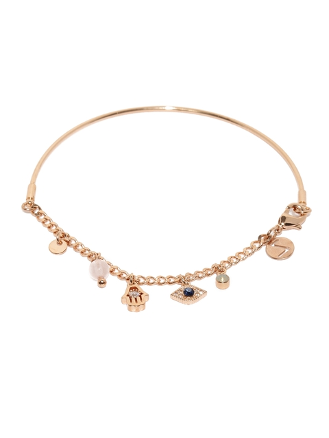 Accessorize Rose Gold-Plated CZ Stone-Studded Bracelet