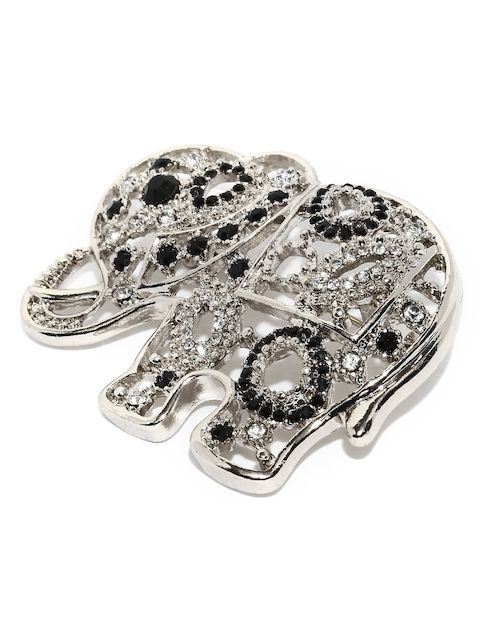 Accessorize Silver-Toned Embellished Elephant-Shaped Brooch