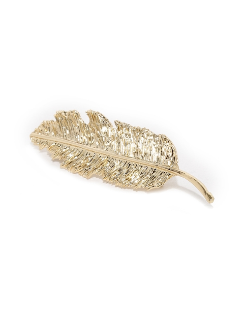Accessorize Women Gold-Toned Feather-Shaped Hair Barrette