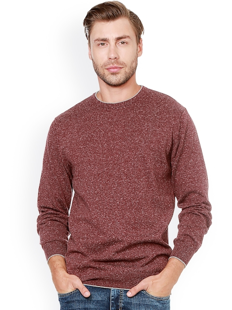 People Men Rust Brown Solid Pullover
