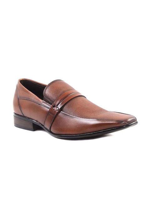 Hitz Men Brown Genuine Leather Textured Semiformal Slip-Ons