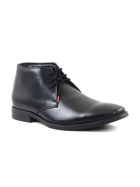Hitz Men Black Genuine Leather Formal Derbys