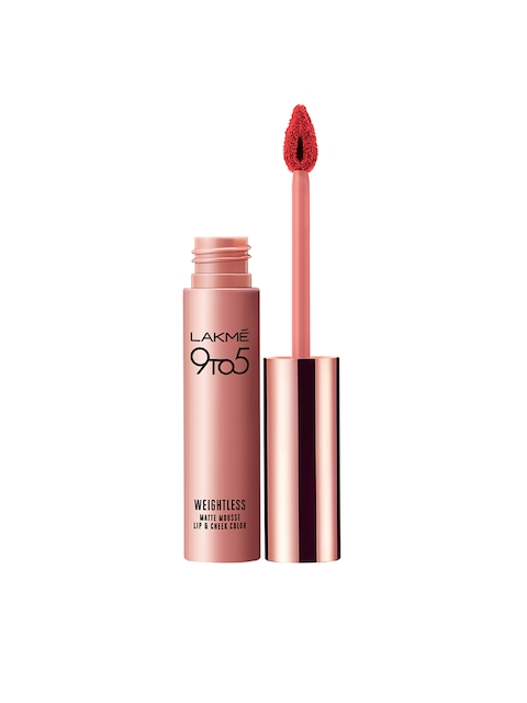 Lakme 9 to 5 Weightless Matte Lipstick Mousse Lip and Cheek Color, Scarlet Plume